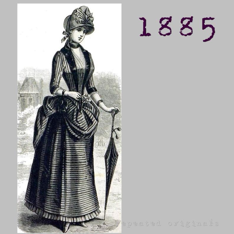 Victorian Dresses, Clothing: Patterns, Costumes, Custom Dresses 1885 Bustle Dress - 35