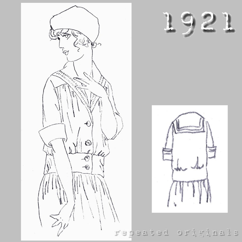 1920s Children Fashions: Girls, Boys, Baby Costumes Middy Blouse for 15 year old girl - Vintage Reproduction PDF Pattern - 1920s - made from original 1921 pattern - Bust 86cm $6.09 AT vintagedancer.com