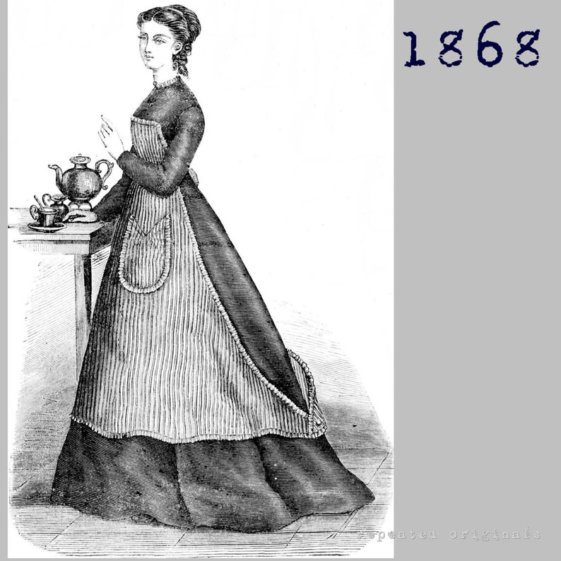Victorian Edwardian Apron, Maid Costume & Patterns 1868 Kitchen Apron - Victorian Reproduction PDF Pattern - 1860s - made from an original 1868 pattern $3.69 AT vintagedancer.com