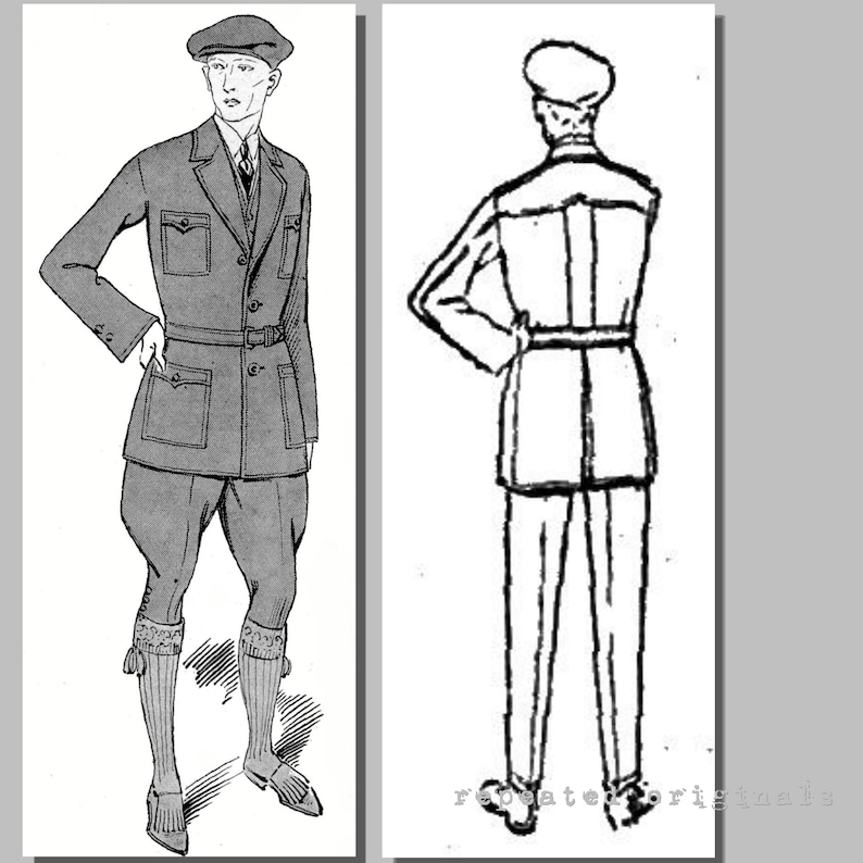Men's Vintage Reproduction Sewing Patterns Sports Suit - 1920s Reproduction PDF Pattern -Jacket Vest Breeches Trousers - made from original 1923 pattern - Chest 96cm Mens Four Piece $13.29 AT vintagedancer.com