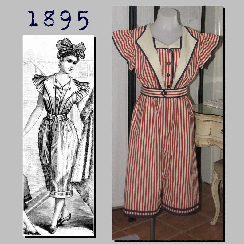 Steampunk Sewing Patterns- Dresses, Coats, Plus Sizes, Men's Patterns Bathing Costume: Suit and Cap - 36