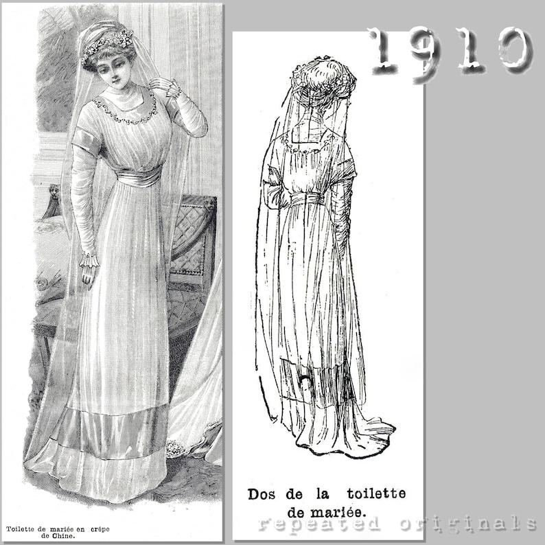 Easy DIY Edwardian Titanic Costumes 1910-1915 Wedding Dress (90cm bust) - Edwardian Reproduction PDF Pattern - 1910s - made from original 1910 La Mode Illustrée Pattern $13.87 AT vintagedancer.com