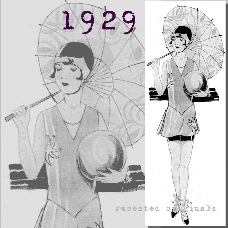 1920s Swimsuits- Women & Mens- History, Sew and Shop Bathing Suit with Overdress for a girl aged 14-16 years-Vintage Reproduction PDF Pattern - 1920s - made from original 1929 pattern $7.05 AT vintagedancer.com