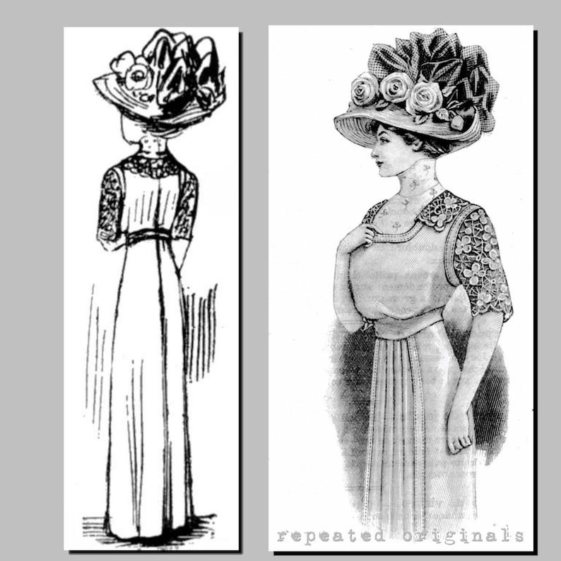 Easy DIY Edwardian Titanic Costumes 1910-1915 1910 Summer Dress- Edwardian Reproduction PDF Pattern - 1910s - made from original 1910 La Mode Illustree Pattern $11.56 AT vintagedancer.com
