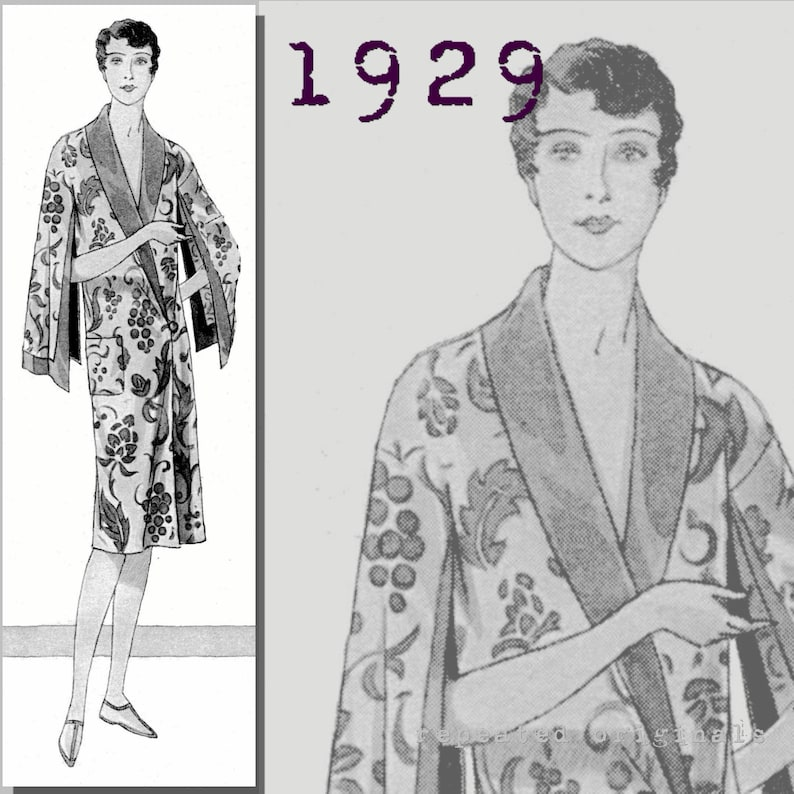 Vintage Nightgowns, Pajamas, Baby Dolls, Robes Ladys Bathing Robe-Shawl Collar and Wing Sleeves - Bust 96cm -Vintage Reproduction PDF Pattern - 1920s - made from original 1929 pattern $6.09 AT vintagedancer.com