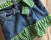 3t girls denim jean skirt. Recycled girls clothing. Little girls ruffle skirt. John Deere skirt girls John Deere