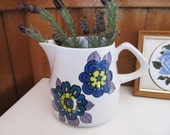 Vintage Wood and Sons Retro Blue Flower Jug, Large English Flower Power Pitcher, Country Kitchen Decor