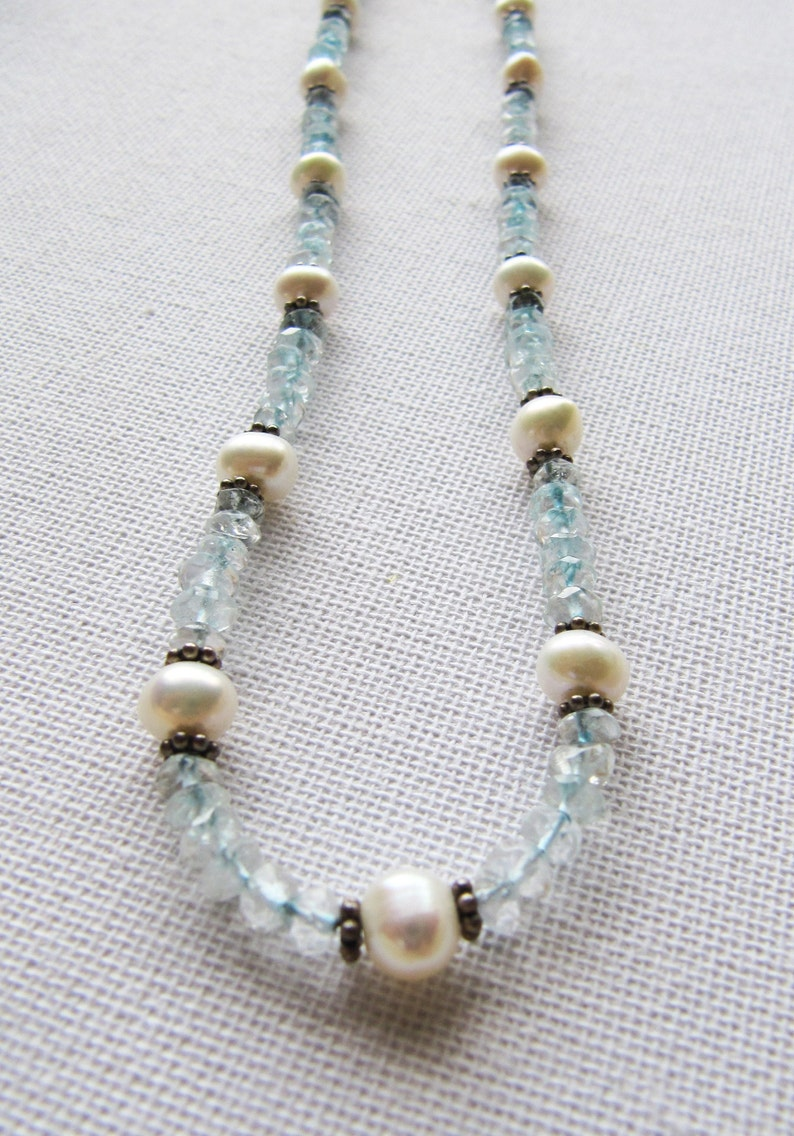 Ice Blue Stone June December Birthstone Gifts Vintage Sterling Silver Topaz White Pearl Necklace