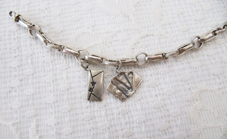 Love Letter Romantic Jewellery Gifts for Her Ace Card Charm Vintage Sterling Silver Charm Link Bracelet