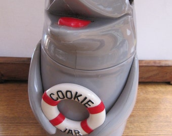 "Vintage Dolphin Cookie Jar, Talking Dolphin Cookie Jar Canister, 10.5 "" Tall Dolphin Lifebuoy Cookie Container, Novelty Dolphin Gifts"