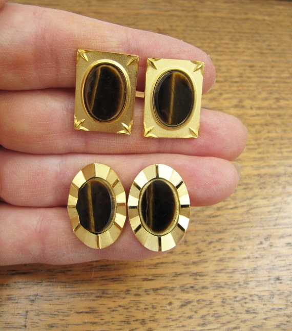 Vintage 1970s Gold Metal Mens Cufflinks