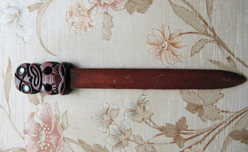 Vintage Hand Carved Wooden Tiki Letter Opener Made in Rotorua Retro Kiwiana Abalone Eyes Unisex Office Gifts
