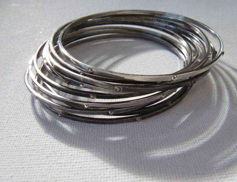 Modernist Textured Bangle Vintage Sterling Silver Stacking Bangle Silver Stacker Bracelets