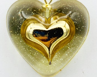 Heart-shaped RESIN decorations to be used as coaster round with faceted edges 3 choices paperweight or just decor