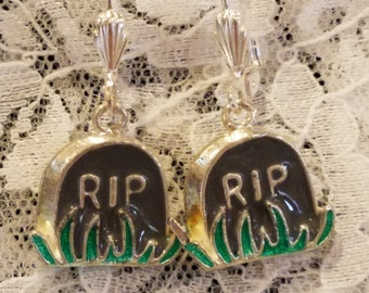 RIP Tombstone Dangle Earrings