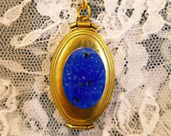 Antique Gold Blue Glass Floral Cameo Locket Necklace Holds Four Pictures