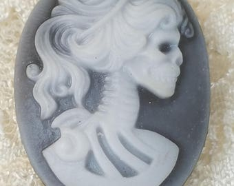 Gray and White Skeleton Cameo Brooch Resin