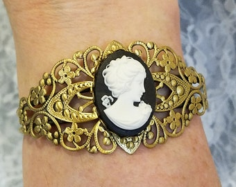 Victorian Style Lady Cameo Cuff Bracelet *Reproduction* Goldtone Filigree