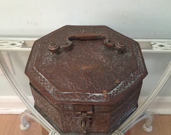 Antique Betel Nut Copper and Brass Box