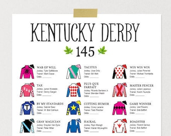 graphic regarding Kentucky Derby Printable Lineup titled Ky derby printable Etsy