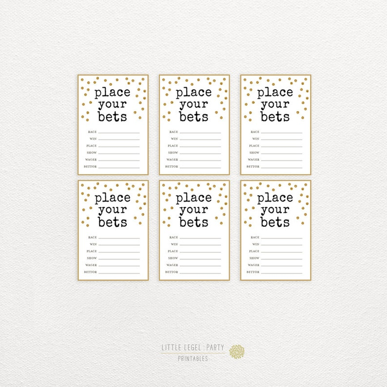photo relating to Printable Element Cards named Kentucky Derby Betting Playing cards. Kentucky Derby Celebration Printables. Issue your bets. Gold Glitter Dots. Do it yourself