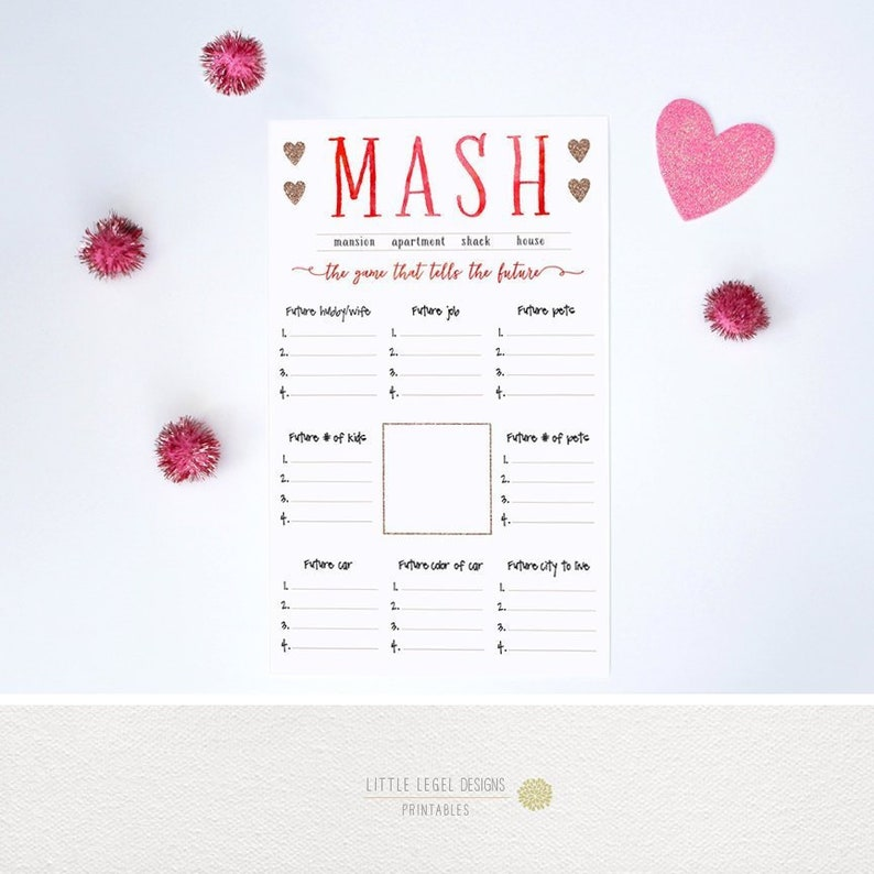 photograph relating to Mash Game Printable identified as MASH recreation. Rest Social gathering Video game - Get together Printable - Exceptional Social gathering Video game - Women of all ages Get together. Do it yourself