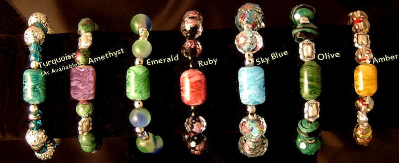 Hand Made Glass Bracelets  Lampwork Ash In Glass Pendants  image 0