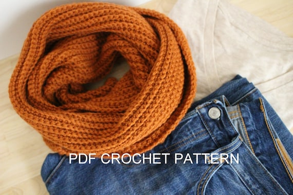 Pattern Ribbed Scarf Crochet Pattern Beginner Crochet Etsy