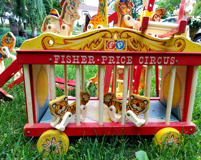 Featured listing image: Vintage 1962 Fisher Price Circus Train LOADED