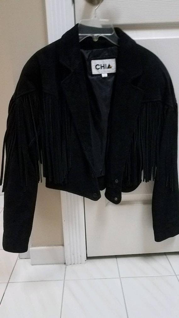 Vintage 1990s Chia Black Suede Fringed Jacket