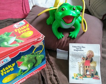 Vintage Fisher Price Frisky Frog #154 w/ Box