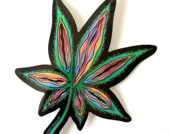 Set of 2 Yoni Weed Leaf Decal Stickers