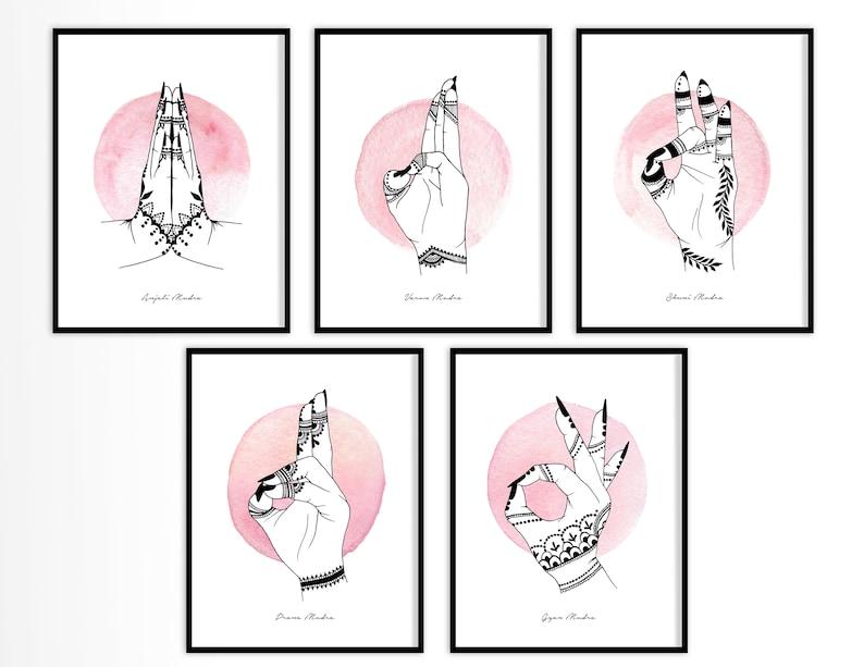 Yoga Mudras Henna Hands Art Print