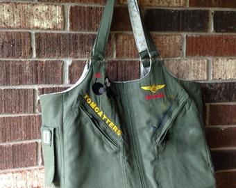 Tote, Bag, messenger bag, computer bag, lap top bag, diaper bag, repurposed flight suit, military uniform bag