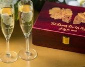 Wedding Toasting Glasses, Keepsake box, Toasting glasses, Champagne, Sugar skull, Day of the dead, Dia de los muertos, Skull wedding