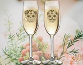 Champagne flutes, Personalized Wedding, Toast, wedding toasting glasses, Sugar skull, Day of the dead, Dia de los muertos, Skull wedding