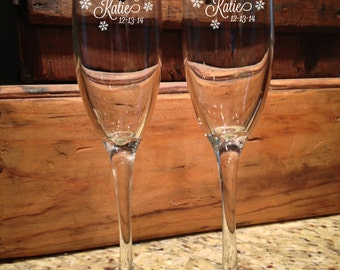 Personalized Champagne flutes, Champagne Flutes, Champagne, Wedding Champagne Flutes, Winter, Toasting glasses, wedding toasting glasses,