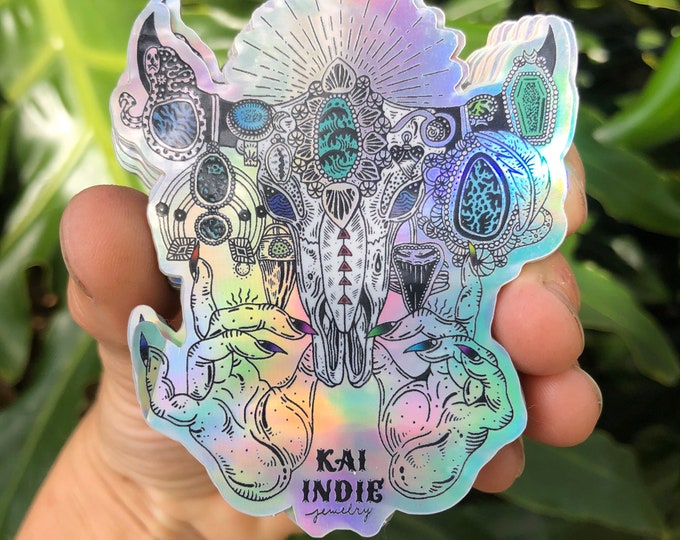 Kai Indie Jewelry Cattle Skull Bling Holographic Sticker