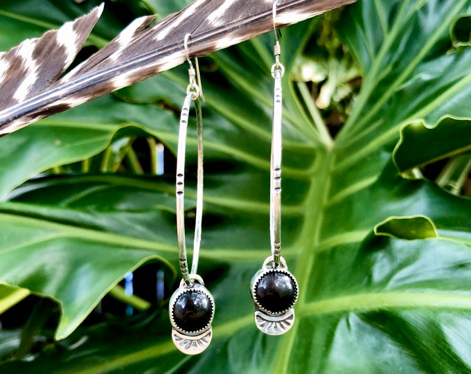 Black Jade Hoop Earrings, Sterling Silver, Wyoming Black Jade, Boho Jewelry, Southwestern Jewelry, Gypsy Style