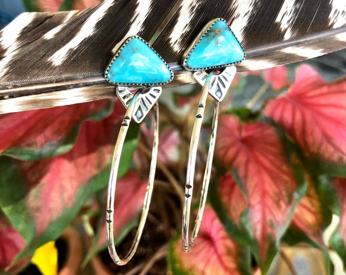 Turquoise Hoop Earrings, Sterling Silver, Stud Back, Large Hoops, Boho Jewelry, Southwestern Jewelry, Gypsy Style