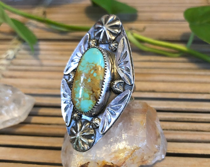 Turquoise Statement Ring, Size 8-10, Sterling Silver, Boho Jewelry, Southwestern Design, Gypsy, Festival, Stamped Design