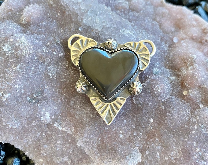 Black Jade Heart Pendant, Sterling Silver, Love Jewelry, Valentines Day, Gothic Style, Gemstone Healing, Gift for Her, Stamped Design