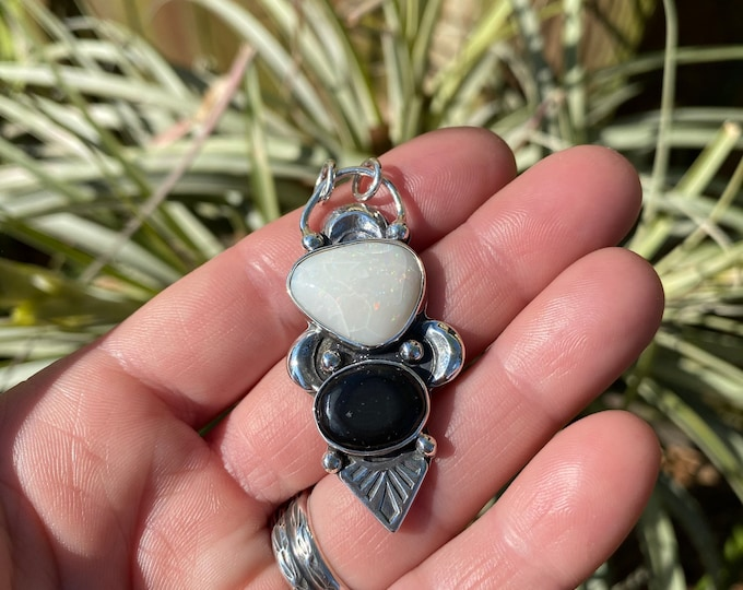 Australian Opal and Black Jade Pendant, Sterling Silver, Crescent Moon Jewelry, Gift for Her, Stamped Design, Gypsy, Boho