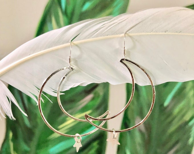Crescent Moon and Star Earrings, Silver or Gold, Sterling Silver and Gold Filled, Dangle Earrings, Boho, Celestial, Moon, Luna, Gypsy