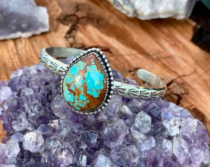 Turquoise Cuff, Sterling Silver, Size Small - Medium, Number 8 Mine Turquoise, Stamped Design, December Birthstone, Boho Style Jewelry