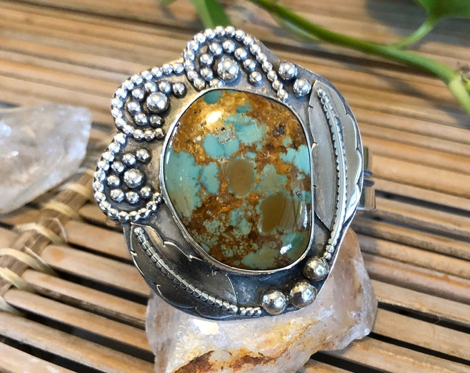 Turquoise Statement Cuff, Size Small-Medium, Sterling Silver, Feather Design, Southwestern Jewelry, Boho Style, Gypsy