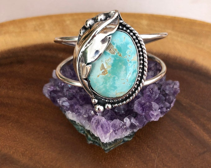 Royston Turquoise Statement Cuff, Sterling Silver, Feather Design, Southwestern Jewelry, Gift for Her, Boho Style, Handcrafted