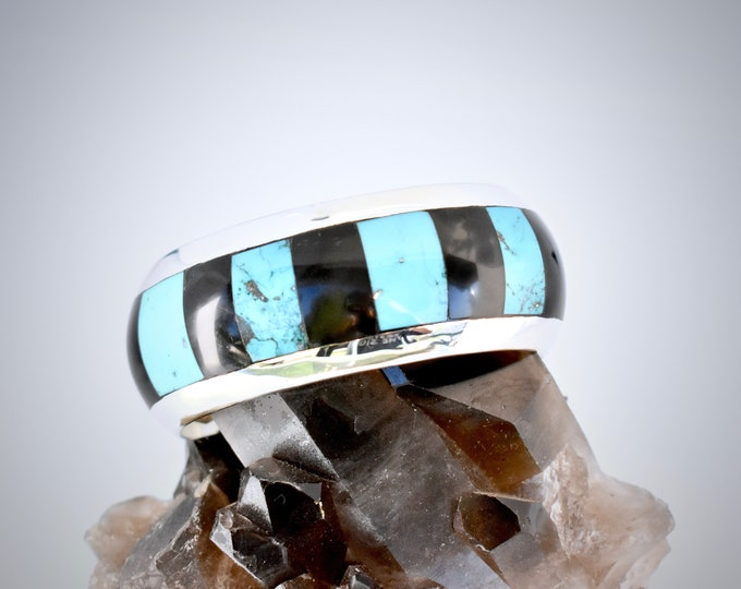 Kingman Turquoise and Wyoming Black Jade Inlay Cuff, Solid Sterling Silver, Size Medium, Unique, Modern, Sleek, Southwestern, Boho Style