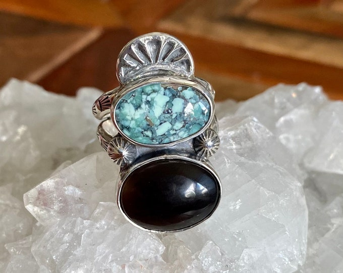 Black Obsidian and Emerald City Variscite Statement Ring, Size 8.5, Sterling Silver, Boho Style, Gypsy Ring, Southwestern, Gift for Her