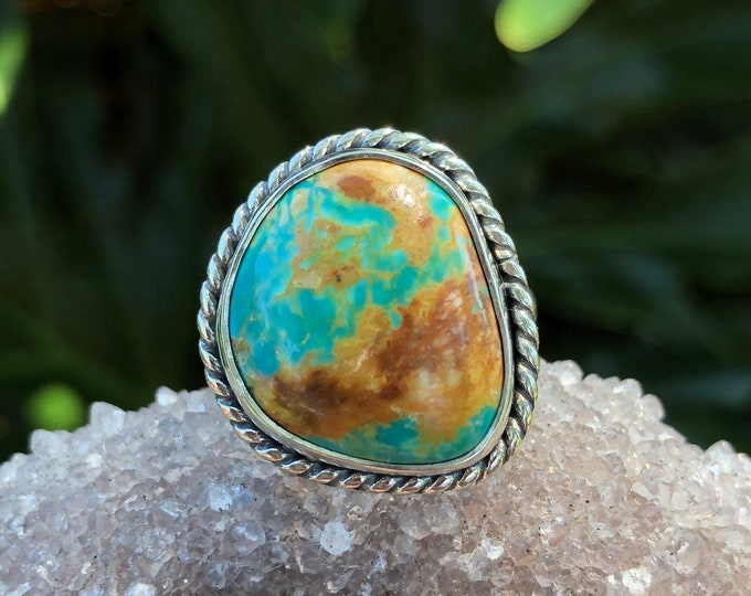 Turquoise Ring, Sterling Silver, Size 6.75 - 8, Statement Ring, Boho Jewelry, Southwestern Style, Gypsy